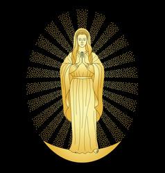 Praying gold virgin mary vector