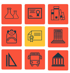 Set of 9 school icons includes diploma chemical vector