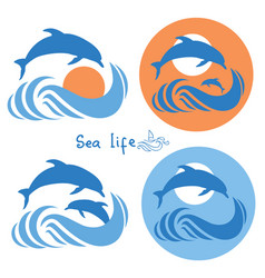 Dolphins jumping in sea logo isolated on white vector