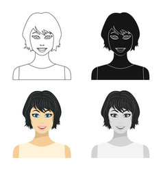 black hair woman icon in cartoon style isolated on vector image