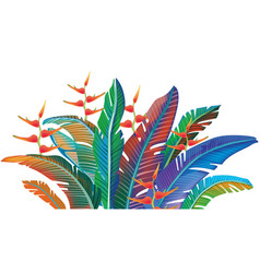 Colored tropical leaves vector