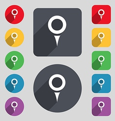 Map pointer gps location icon sign a set of 12 vector