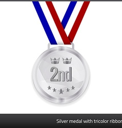 Silver medal with tricolor ribbon vector