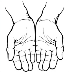 Empty open palms vector