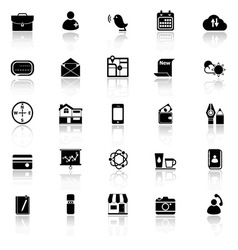 Mobile icons with reflect on white background vector image