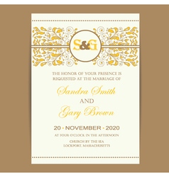 Wedding card with floral ornament vector
