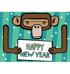 Happy new year comic monkey vector