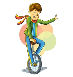 Unicycle boy vector
