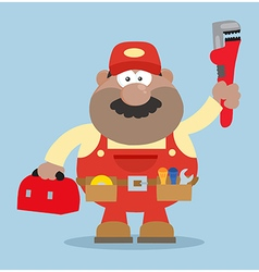 Happy Mechanic Cartoon with a Toolbox vector image