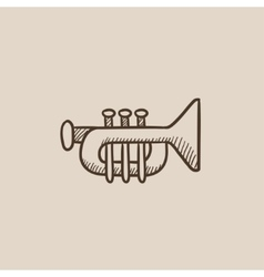 Trumpet sketch icon vector