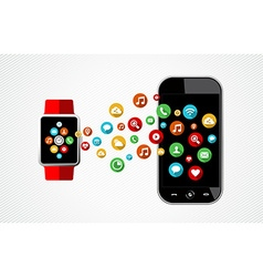 Concept of smart watch and phone with app icons vector image