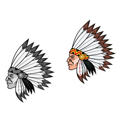 american indian head vector image vector image