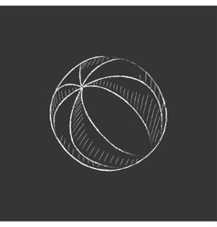 Beach ball drawn in chalk icon vector