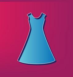 Beautiful long dress sign blue 3d printed vector