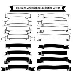 black and white ribbons collection vector image vector image