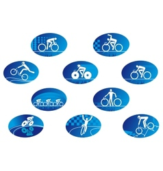 Blue bicycle sport icons with reflection vector