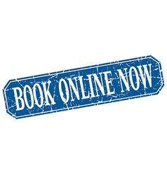 Book online now blue square vintage grunge vector