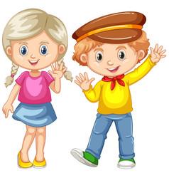Boy and girl waving hands vector