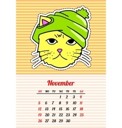 Calendar 2017 with cats November In cartoon 80s vector image
