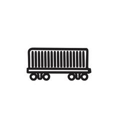 Cargo wagon sketch icon vector