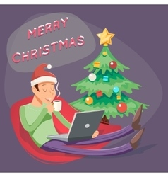 Christmas cartoon geek eager beaver symbol man vector