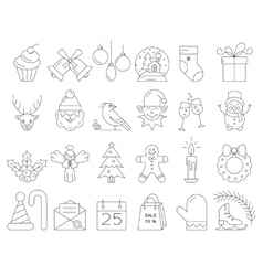 Christmas line icons vector image vector image