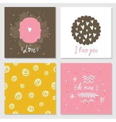 Cute cards with love lettering seamless background vector image vector image