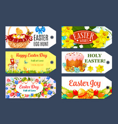 Easter egg hunt gift tag and label set design vector