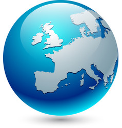 Europe silhouette on blue globe vector