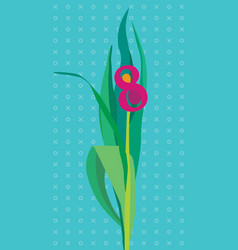 Greeting card with flower number 8 vector