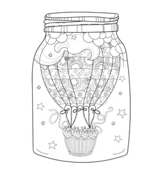 Hand drawn doodle outline air balloon in flight vector