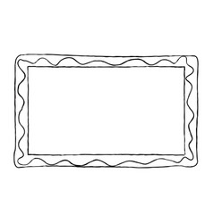 hand-drawn frame black and white with wavy line vector image