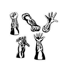 Hands collection retro vector