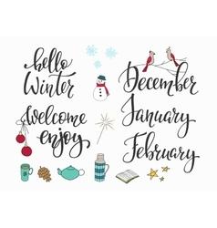 Hello winter december january february set vector