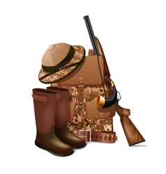 Hunting equipment retro icon vector