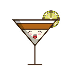 Kawaii cocktail drink icon vector
