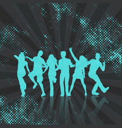 party crowd on abstract dots background vector image