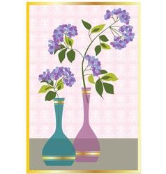 purple flowers in vases vector image vector image