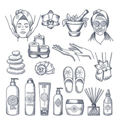 set for spa salon candles oils and vector image