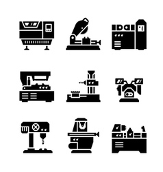 Set icons of machine tool vector