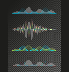set of colored sound waves equalizer design vector image