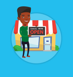 Shop owner holding open signboard vector