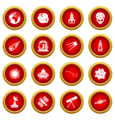 Space icon red circle set vector