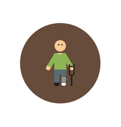 Stylish icon in color circle man with crutch vector