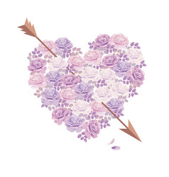 tender color pink rose bouquet in heart shape vector image