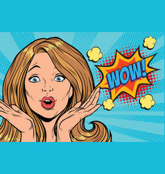 wow delight pop art woman face vector image vector image