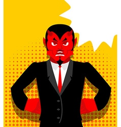 Angry devil satan is not happy angry red demon vector