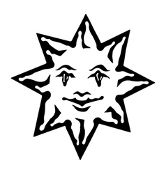 Emblem of sun black and white solar sign vector