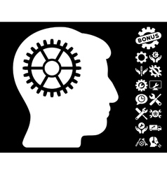 Intellect cog icon with tools bonus vector