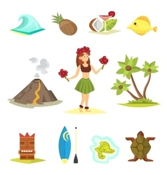 Hawaii icons and girl vector image